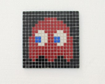 Original Pacman mosaic wall art; Pacman ghost; Shadow; Blinky; vintage video game; glass mosaic; pixel wall art.