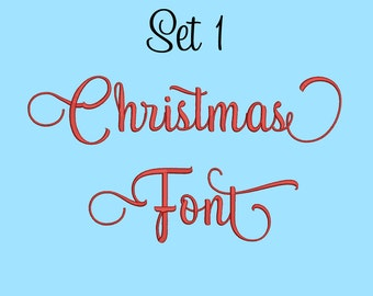 5 Size Christmas Font Embroidery Fonts  Set 1 Instant Download 8 Formats Embroidery Pattern Machine Embroidery Fonts PES