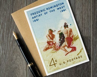 american art birthday card, classic American christmas card, native americans art print, old west greeting card, Frederic Remington art card