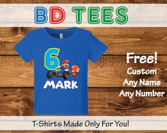 Super Mario Brothers Birthday T Shirt Personalized - nintendo wii video