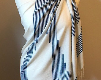 Beach cover up, summer scarf, ladies cream shawl, blue sarong, handwoven evening wrap, gift for her, ladies present