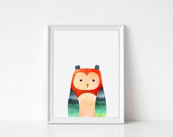 Owl Print, Owl Wall Art, Owl Large Printable Poster, Nursery Decor, Kids Room Decor, Owl Art Print, Forest Bird, Woodland Print