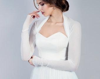 Bridal bolero, simple bridal cover up, long sleeve bolero
