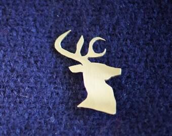Brass stag brooch