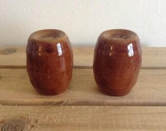 Rustic, salt and pepper shakers. Ceramic.