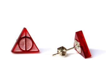 Harry Potter earrings, harry potter jewelry, deathly hallows earrings, deathly hallows stud earrings