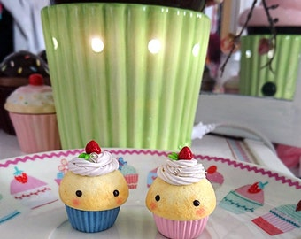 Cute Polymer Clay Strawberry Cupcakes