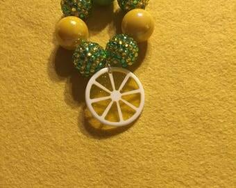 Toddler stretch bracelet, green and yellow bubblegum beaded bracelet