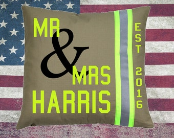 Firefighter TAN Pillow - MR & MRS with Last Name