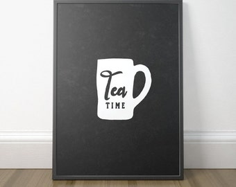 Chalkboard Kitchen Art, Rustic Kitchen Wall Art, Tea Kitchen Art, Printable Kitchen Sign, Tea Poster Art, Instant Download, Digital Print