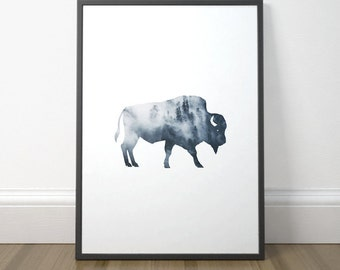 Modern Printable Art, Gallery Wall Decor, Buffalo Art, Bison Print, Watercolor Art, Modern Scandinavian Art, Instant Download, Digital Print