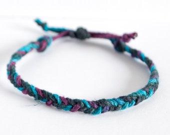 Blue Purple Fishtail Braided Hemp Cord Stackable Bracelet - Handmade Adjustable