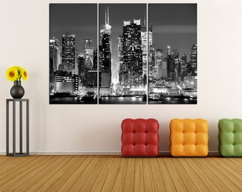 large canvas New York Manhattan wall art print, manhattan Skyline canvas print, Manhattan photo wall art, black and white canvas 4S66