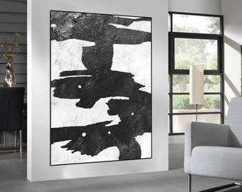 original abstract Painting on canvas, handmade wall art Painting, Abstract Canvas art for large wall decor Black and White