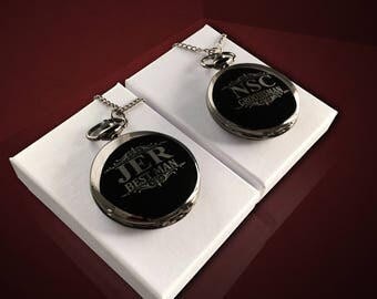 2 Personalized pocket watches - Groomsmen Engraved Watch - Vintage gift laser engraved - Best man gift - Bridesmaid and Groomsmen gift