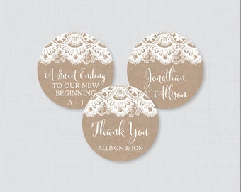Printable OR Printed Wedding Stickers - Burlap and Lace Circle Wedding Labels, Personalized Wedding Favor Tags, Thank You Stickers 0002