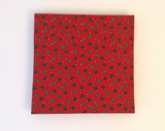 Christmas tree print fabric-covered wall decoration - square