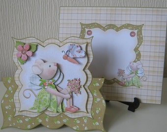 Petal Pixie Mouse Shaped Over The Top 3D Decoupage Birthday Card with Matching Envelope