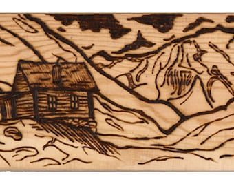 Woodburned Cabin in the Mountains Box