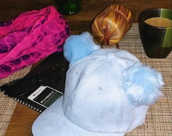 Light Blue Baseball hat with Pompoms, Baseball Hat, Pompom Hat, Baseball Hat for Kids, Kids Hat,