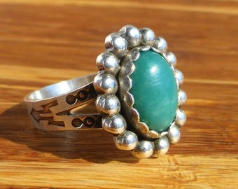 Fred Harvey Era Sterling Silver and Turquoise Native Ring, Size 6