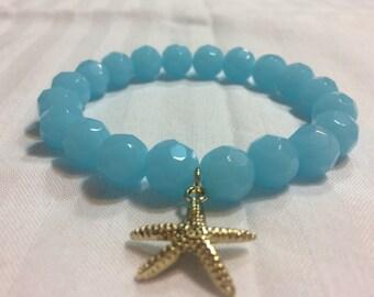 Women's bracelet- ocean blue, gold starfish