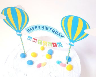 Cake topper Happy Birthday hot air balloon // customizable name // colorfull baby COLLAGE