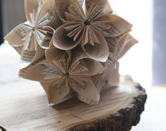 Book flower cluster decoration perfect for vintage or rustic weddings, bridal showers or romantic decorations