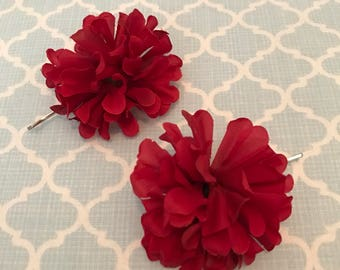 red flower hair pins, spring hair pin, USA hair, patriotic hair, Fourth of July, adult hair accessory, girl hair accessory, ready to ship