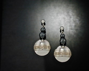 """Silver Dome Earrings,Raised Letter SILVER Earrings,Hematite Bead Drop Earrings,""""SILVER"""" Letter Earrings,Hematite Bead Earrings"""