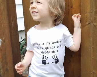 Working in the Garage with Daddy Shirt, Toddler Shirt, Little Helper, Toddler Clothes, Boys Shirt, Toddler Work Shirt, Daddy and Son