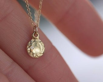 Sun Charm Necklace 14K Solid Gold