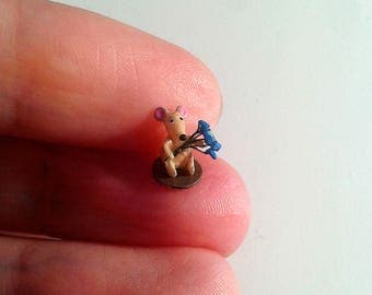 Tiny mouse with blue flowers - Micro miniature. OOAK