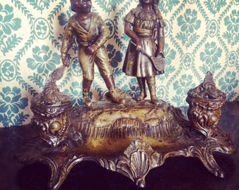 Gorgeous double Inkwell Art nouveau signed spelter A.Bossu. Children. Set of Palm. 1900's complete. Perfect condition! antique french.