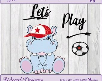 Hippo svg, Soccer svg, svg for boys, animals svg, boys svg, scanncut, dxf cut file, fcm file, t shirt design, kids svg, vinyl cut file