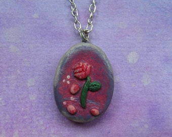 LAST CHANCE SALE: Beauty & the Beast inspired rose polymer clay charm necklace