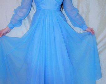 Vintage 60's EMMA DOMB Prom Dress - Cinderella Blue Chiffon Full Length Formal Gown 6/8