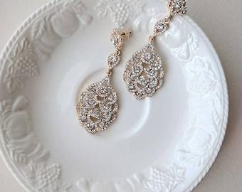 Bridal rhinestone earrings - Elisha