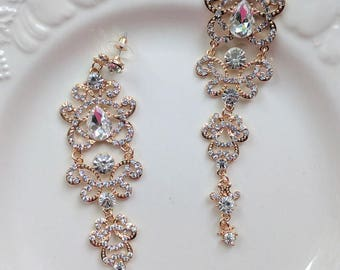 Bridal gold rhinestone earrings - Rebecca