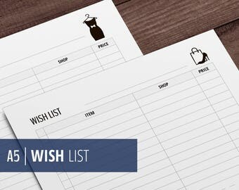 A5 Printable Wish List / Shopping List Page / Filofax and Kikki Planner Inserts - Fashion Style - Black & White - Instant Download