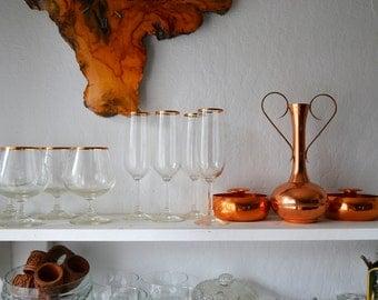 Copper Rim Glassware Barware vintage/boho/eclectic/kitchen/drinkware/barcart/stemware