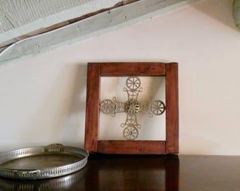 RARE Antique Cross, Breton Bed Cross, Antique Furniture Inlay, Sculpted bronze Crucifix, Antique Walnut Frame