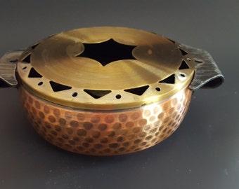 Vintage Mid Century Copper/Brass/Steel Tea Coffee Plate Pot Warmer, European Style