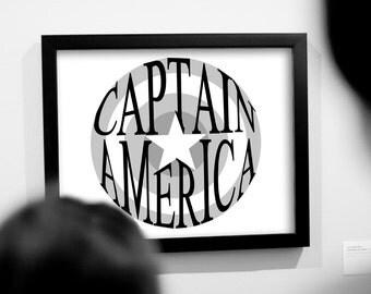 Captain America Shield Minimalist Art | Printable Art | Instant Download | Superhero | Word Art | Typography