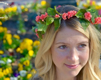"The ""Marissa"" floral halo crown // summer festival crown, boho crown, summer wedding headpiece, bridesmaid headpiece, flower girl crown"