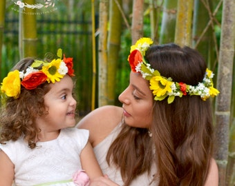 "The ""Sejah"" floral halo crown // Boho Crown with Faux Floral Mix and Greenery, Photo Shoot Prop, Boho,  flower girl, Mommy and Me Crowns"