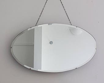 Long Chained Oval Mirror Vintage Frameless & Sophisticated