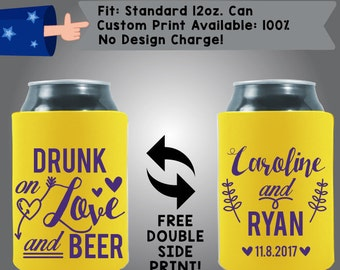 Drunk on Love and Beer, Names and Date - Personalized Can Coolers, Custom Collapsible Neoprene Beer Can Coolers, Wedding Favors (W3)