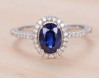 Oval Cut Sapphire Ring White Gold Engagement Ring Halo Half Eternity Diamond Bridal Set Women Birthstone Antique Anniversary Gift For Her