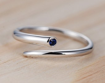 Sapphire Engagement Ring White Gold Bezel Set Pinky Simple Dainty Delicate Solitaire Knuckle Anniversary Gift for Her Women
